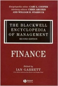 The Blackwell Encyclopedia of Management. In 12 volumes. Volume 4. Finance